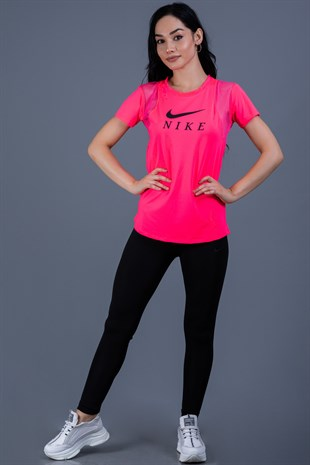 Pembe Kolları Fileli T-Shirt Nk Mrt-M289